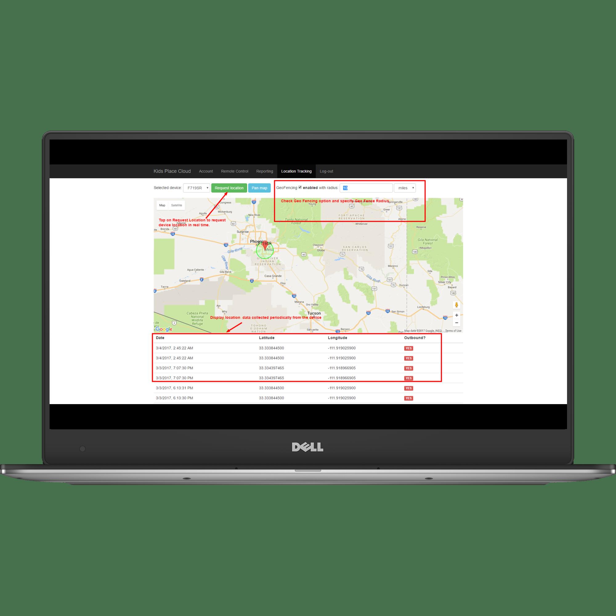 Device Remote Control App - Geo Location